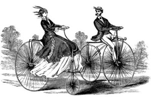 Old Fashioned Big Bicycle Couple