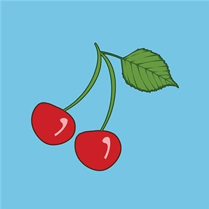 Retro Cherries Blue