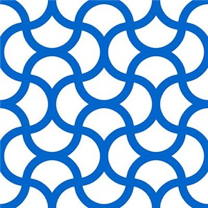 Wavy Scale Pattern Blue White Large