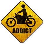 Motorcycle, biker road sign, addict clothes