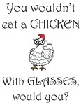 Chicken with glasses (PETA)