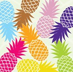 Cheerful colorful pineapples