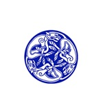 Blue Celtic Knotwork Dogs Symbol