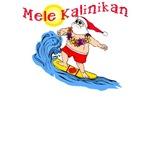 Hawaiian Christmas Surfing Santa T-shirt