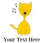 Singing Cat with Black Text
