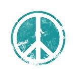 Blue Distressed Look Peace Symbol