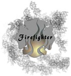 Firefighter Tattoos In Smoke filled background posters, decals and tshirts.