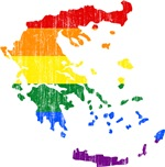 Greece Rainbow Pride Flag And Map