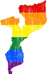 Mozambique Rainbow Pride Flag And Map