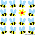 Cute design shows swarm of 15 bees and one yellow and red flower.