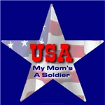USA Patriotic Star My Moms's A Soldier