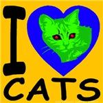 I Love Cats Blue & Gold