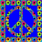 Peace Symbol Blackeyed Susans On Royal blue