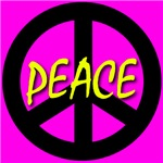 Peace Symbol Child's Script Cyan