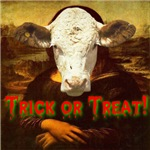 Mona Lisa Trick or Treat Cow