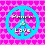 Peace & Love Symbol Pink Hearts