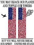 Twin Towers Flags United We Stand
