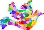 Rainbow Dove of Hearts