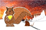A Snowy Squirrel and Mouse
