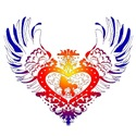 Poodle Rainbow Winged Heart