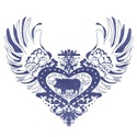 Pig Blue Winged Heart