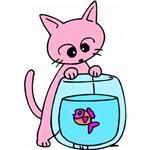 Cat & Fishbowl Cartoon
