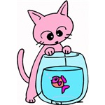 Cat & Fishbowl Cartoon