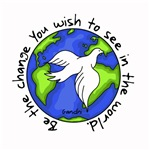 World Peace - Gandhi - Be the change - Wrap ~