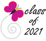 Pretty CLASS OF 2021 T SHIRTS with butterf