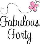 Fabulous Forty Birthday Butterfly T-shirts