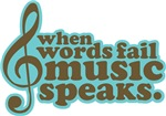 Music Speaks Brown Gifts and Tees