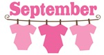 Cute September Pink Baby Clothes Announceme