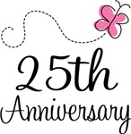25th Anniversary Pink Butterfly Keepsake Gifts