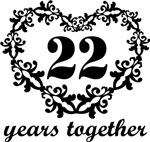 22nd Anniversary Heart Gifts Together