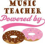 MUSIC TEACHER POWERED BY DONUTS T-shirts