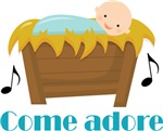 Baby Jesus Come Adore Kids Christmas Tees