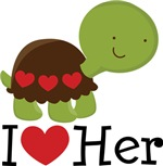 I Heart Her Couples Turtle T-shirts