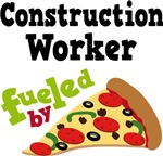 Construction Worker Funny Fueled By Pizza Tshirts