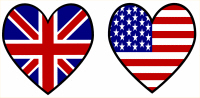 Union Jack / USA Hearts Flags