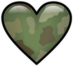 Love Military Cammo Heart T-shirts & Gifts