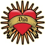 Father's Day Red Heart Dad Tattoo T-shirts & Gifts
