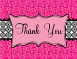 Hot Pink Black Thank You Notes Gifts