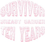 Survivor Breast Cancer Ten Years T-shirts Gifts