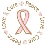 Pink Ribbon Peace Love Cure T-shirts Gifts