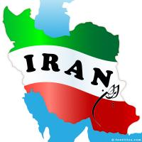 Map of Iran with color of the flag