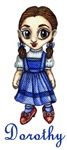 This cute little Anime styled Dorothy from the Wizard of Oz is proudly showing off her rudy red shoes.  Perhaps she is about go for a stroll on the yellow brick road.<