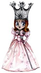 Glinda, the Good Witch, from the Wonderful Wizard of Oz stands very cutely in her anime styled dress, magic wand and her star encrusted silver crown.