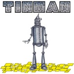 The Tinman, inspired by L Frank Baum's the Wonderful Wizard of Oz, stands on the Yellow Brick Road.
