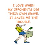 a funny table tennis joke on gifts and t-shirts.