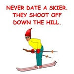 a funny skiing joke on gifts and t-shirts.